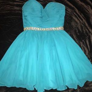 Prom girl/blush prom, semi teal dress